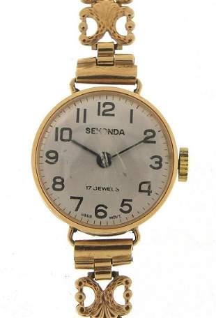 Sekonda, ladies 9ct gold wristwatch with...