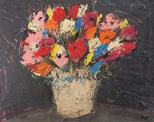 Still life flowers in a vase, impasto oi...