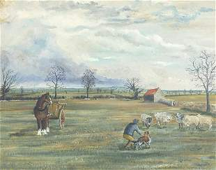 Farmer with sheep and horse before a lan...