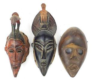 Three tribal interest African carved woo...