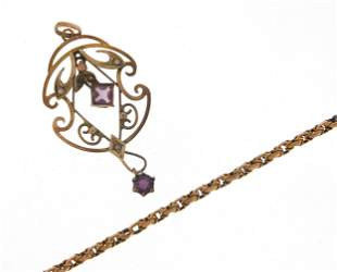 Art Nouveau 9ct gold amethyst and seed p...
