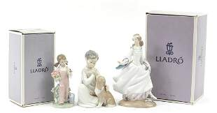 Three Lladro figures, two with boxes, nu...