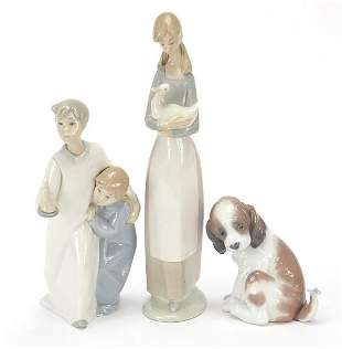 Three Nao and Lladro figures and animals...
