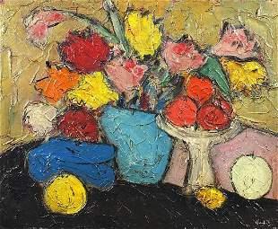 Still life flowers and fruit, Scottish C...