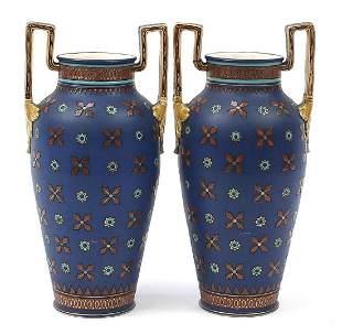 Mettlach, large pair of German stoneware...