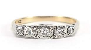 Art Deco 9ct gold graduated diamond five...