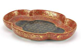 Chinese porcelain four footed iron red a...