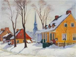 Snowy Canadian street scene, oil on boar...