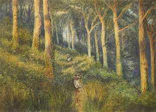 James Jameson - Two figures in woodland,...