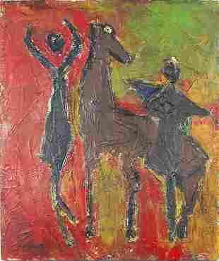 Two figures beside a horse, Italian scho...
