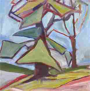 Abstract landscape, mid 20th century oil...