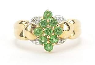 14ct gold green amethyst and diamond clu...
