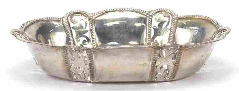 Oval silver bonbon dish with pierced dec...