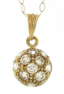 9ct gold clear stone pendant on a 9ct go...