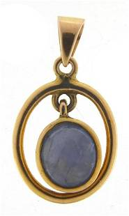 9ct gold cabochon star sapphire pendant,...