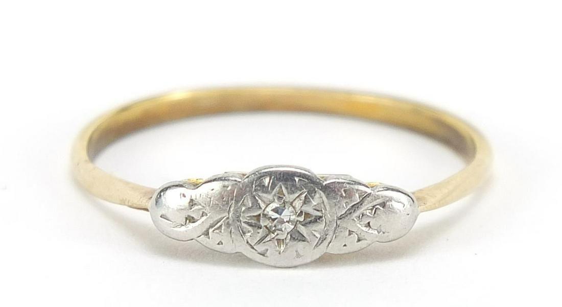 Art Deco 18ct gold and platinum diamond ...