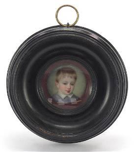 19th century circular enamel panel hand ...