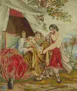 Biblical scene, 19th century needlepoint...