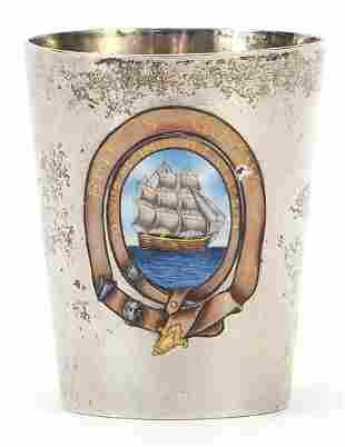 Shipping interest silver beaker enamelle...
