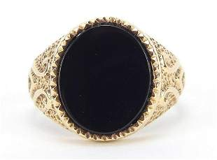 9ct gold black onyx signet ring with eng...