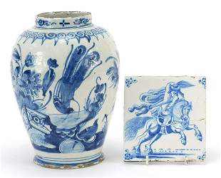 18th century Delft blue and white vase h...