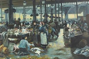 Busy fish market, Victorian style oil on...
