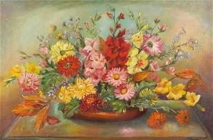Violet Harrison - Still life flowers, oi...