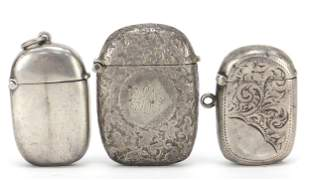 Three Victorian and later silver vestas ...