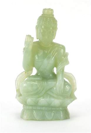 Chinese green jade carving of Guanyin, i...