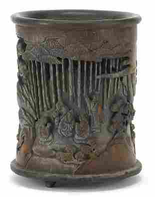 Chinese bamboo brush pot carved with fig...