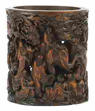 Chinese bamboo brush pot profusely carve...