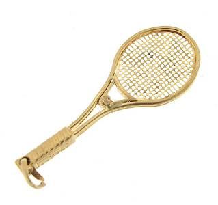 9ct gold tennis racquet pendant, 4.2cm h...