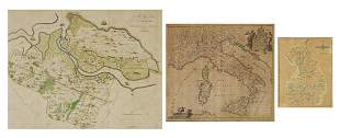 Three antique hand coloured maps compris...