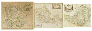 Three 18th century hand coloured maps by...