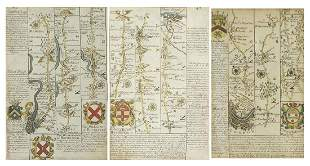 Three antique hand coloured road maps in...