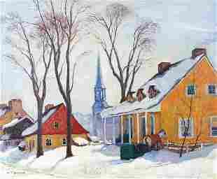 Snowy town scene, Canadian school oil on...