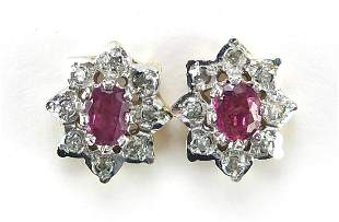 Pair of 9ct gold ruby and clear stone st...