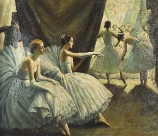 Ballet dancers, Modern British oil on ca...