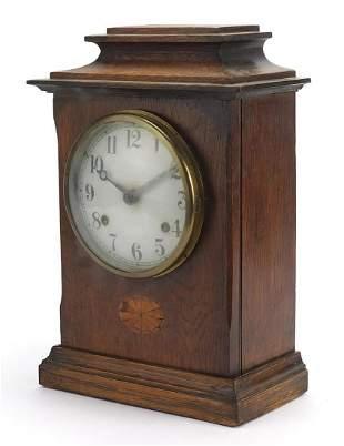 Edwardian inlaid oak mantle clock with p...
