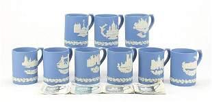 Nine Wedgwood blue and white Jasperware ...