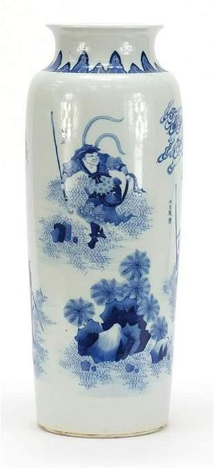 Large Chinese blue and white porcelain v...