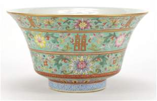 Chinese porcelain turquoise ground bowl ...