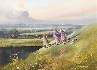 John Horsewell - Three figures on a hill...