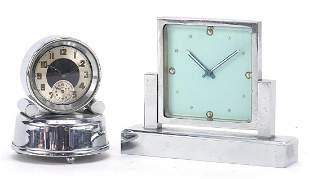 Two Art Deco chrome desk clocks includin...