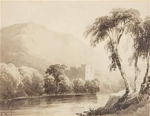 James Poole - River landscape before mou...