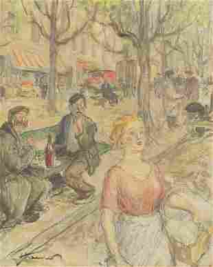 Percy Horton - Busy street scene with fi...