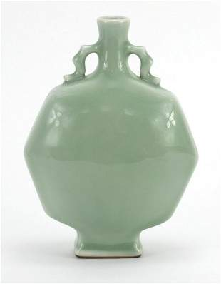Chinese porcelain octagonal moon flask w...