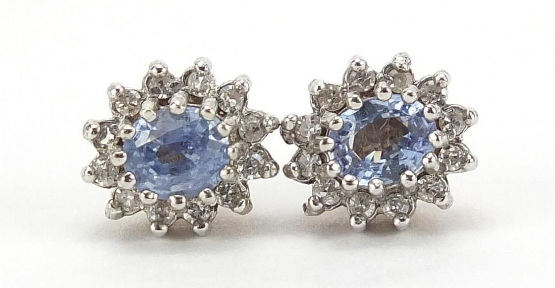 Pair of 9ct gold sapphire and diamond cl...