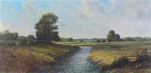 Mark W Pike - River landscape, oil on ca...