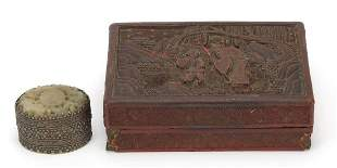 Chinese cinnabar lacquer box and cover c...